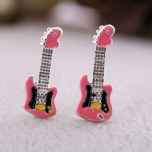 Pink Betsey Johnson Guitar Earrings